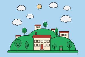Vector l'illustrazione del paesaggio piano del villaggio della natura con le montagne. Piccolo concetto della città