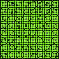 Astratto sfondo verde e nero con punti, cerchi