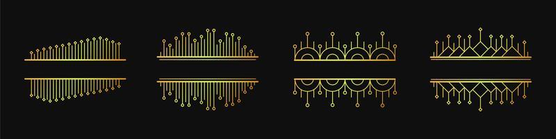 Insieme delle bandiere lineari geometriche di vettore elegante semplice
