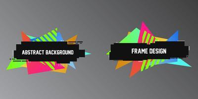 Stile ad effetto glitch, due stendardi geometrici, cornici con triangoli luminosi