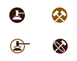 Illustrazione di progettazione dell'icona di vettore della corte del martello