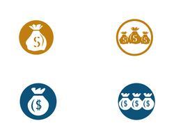 Illustrazione di vettore del modello dell'icona della borsa dei soldi