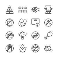Set di icone di dieta chetogenica. Illustrazione di vettore