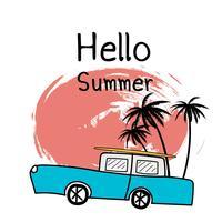 Ciao illustrazione tipografica di vacanza estiva con auto e piante tropicali.