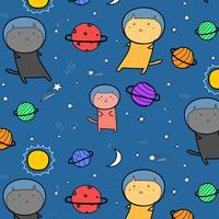 Doodle Space Background disegnato a mano. Illustrazione vettoriale