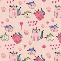 Simpatico orso Unicorn Pattern Background. Illustrazione vettoriale
