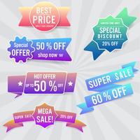 Set di etichette e banner di vendita. Design colorato vettore