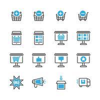 Set di icone dello shopping online. Illustrazione di vettore