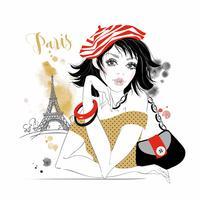 Bella ragazza a Parigi. Modello di bellezza Torre Eiffel. Grafica. Acquerello. Vettore.