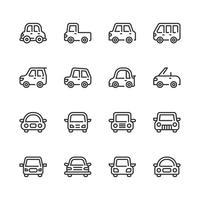 Set di icone di auto. Illustrazione di vettore