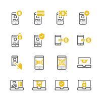 Insieme dell'icona di pagamento online. Illustrazione di vettore