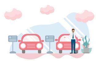 Rappresentante nello showroom dell'automobile, concetto del deposito di gestione commerciale della sala d'esposizione con carattere. Progettazione piana creativa per l'insegna di web