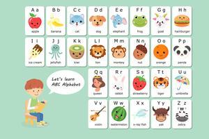 Vocabolario inglese Kawaii e alfabeto flash card vettoriale per i bambini per aiutare l'apprendimento e l'educazione nei bambini dell'asilo.