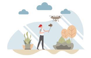Concetto di Vlog con carattere, un uomo che tiene il blog di video selfie fotocamera con un drone elicottero. Design piatto creativo per banner web