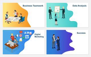 Insieme di base di RGB dell'uomo d'affari di vettore di affari che lavora con il gruppo sul progetto di idea creativa per l'analisi della strategia finanziaria della società. Il concetto per l'ufficio discute il successo di lampo di genio.