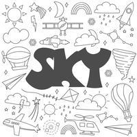 Doodle disegnato a mano del set di cielo