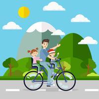 Padre in bicicletta la bicicletta con il suo viaggio bambino in ambiente naturale. Vettore per il legame familiare e lo stile di vita felice del concetto di persone.