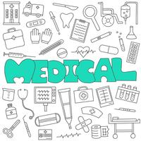 Doodle disegnato a mano di set medico e sanitario vettore