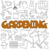 Doodle disegnato a mano del set da giardinaggio