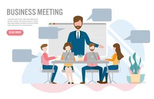 Videoconferenza nel concetto di ufficio con carattere. Design piatto creativo per banner web