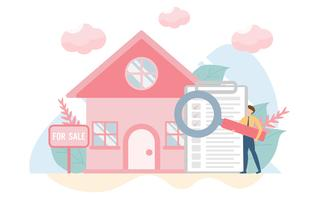 Concetto di acquisto casa con carattere. Design piatto creativo per banner web