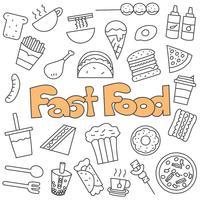Doodle disegnato a mano di set di fast food vettore