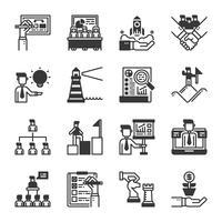 Set di icone di gestione aziendale. Illustrazione di vettore