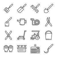 Set di icone di giardinaggio. Illustrazione di vettore