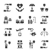 Insieme dell'icona di assicurazione. Illustrazione di vettore