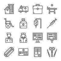 Set di icone di ospedale. Illustrazione di vettore