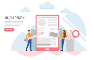 Esperienza utente e concetto di interfaccia utente con carattere. Design piatto creativo per banner web vettore