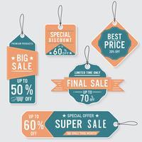 Set di etichette e banner di vendita. Design retrò