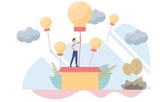 Uomo d'affari che aumenta sul concetto del pallone della lampadina con carattere Progettazione piana creativa per l'insegna di web