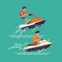 Uomini in sella a scooter d'acqua vettore