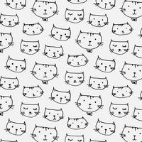 Fondo disegnato a mano del modello di gatti sveglio. Illustrazione vettoriale