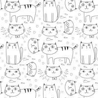 Fondo disegnato a mano del modello di vettore dei gatti. Doodle divertente. Illustrazione vettoriale a mano.