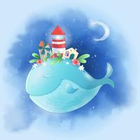 Simpatico cartone animato balena nel cielo con una città sul dorso, un manifesto stampa cartolina casa mulino faro per la camera dei bambini.