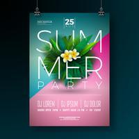 Progettazione di estate festa volantino con fiore e foglie di palme tropicali su sfondo blu e rosa. Illustrazione di vacanze estive con piante esotiche e tipografia lettera vettore