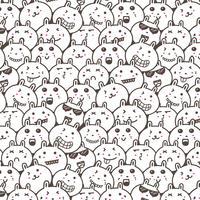Bunny Doodle Art Pattern Background. Illustrazione vettoriale