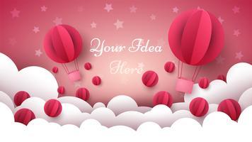 Illustrazione di San Valentino. Aerostato, cuore, nuvola. vettore