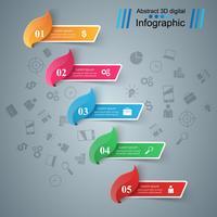 Cinque elementi infografica. Idea di business vettore