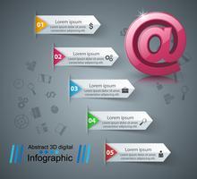 Icona e-mail e posta 3D astratto infografica.