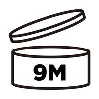 9 mesi. Periodo dopo l'apertura, simbolo PAO, icona della data di scadenza. vettore