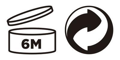 6M Periodo dopo l'apertura, simbolo PAO e simbolo di Green Point per il packaging cosmetico. vettore