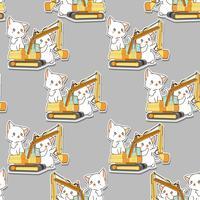 Gatti bianchi kawaii senza cuciture e il modello del trattore vettore
