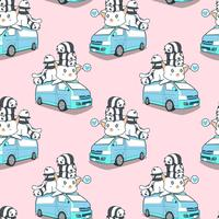 Gatto e panda giganti svegli senza cuciture sul modello del furgone blu.