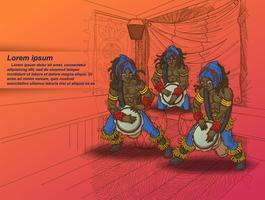 Festival musicale in stile cartone animato.