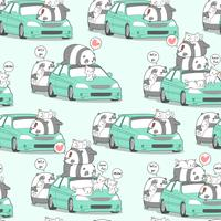 Panda e gatti di kawaii senza cuciture con l'automobile nel modello di festa.