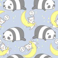 Panda e gatto senza cuciture nel modello di tema della buona notte. vettore