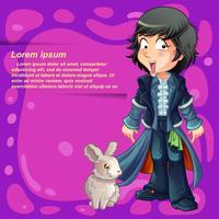 Personaggio del mago in stile cartoon. vettore